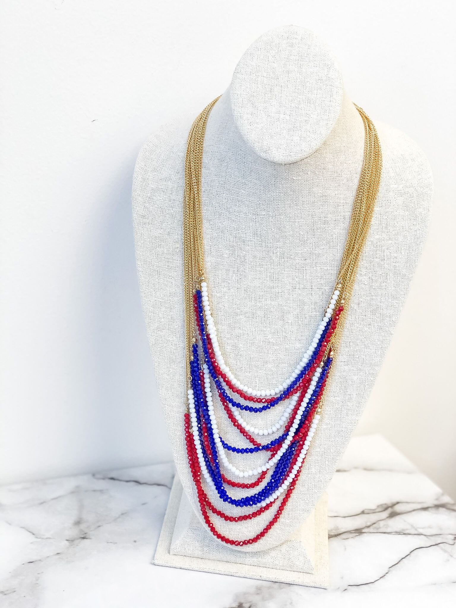 Americana Layered Beaded Necklace