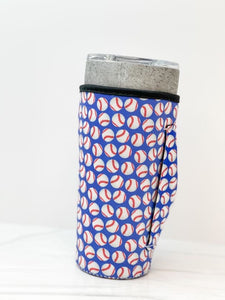 Insulated Cold Cup Sleeve with Handle - Baseball Print