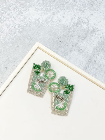 Mint Julep Beaded Dangle Earrings