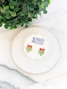 Mistletoe Enamel Stud Earrings