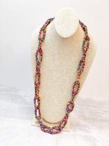 Seed Bead Long Link Necklace - Multi