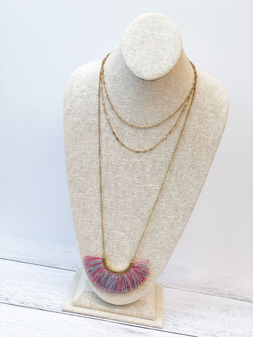 Layered Fringe Statement Long Necklace - Multi