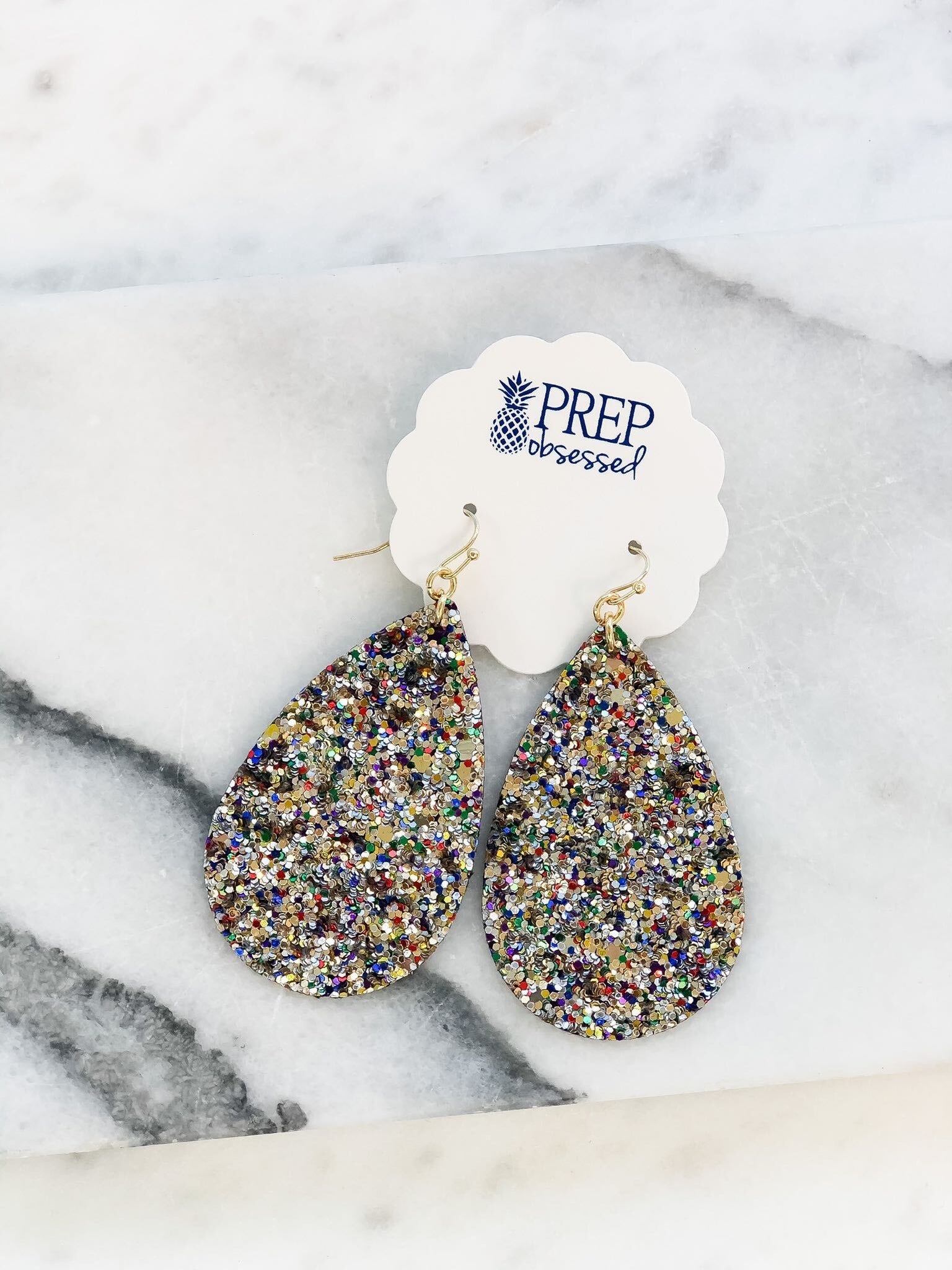 Multi Glitter Teardrop Dangle Earrings