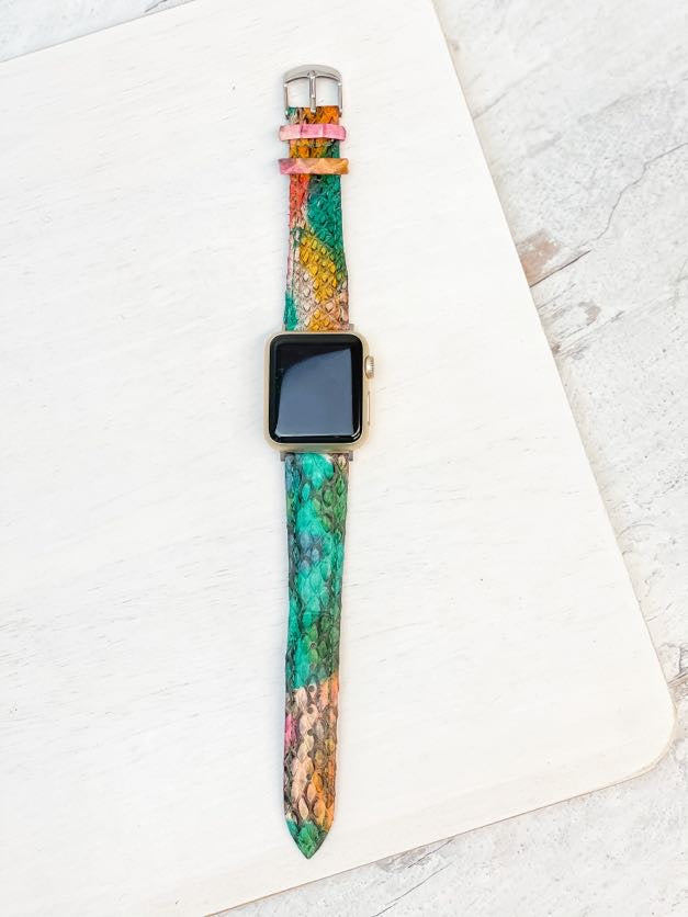 Snakeskin Embossed Leather Apple Watch Band - Multi 38/40