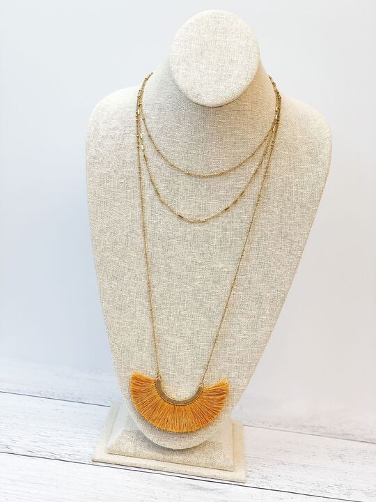 Layered Fringe Statement Long Necklace - Mustard Yellow