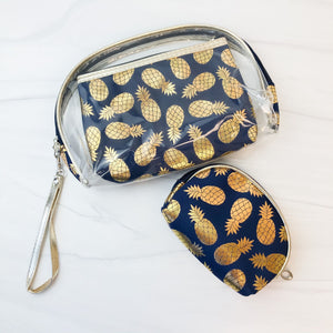Pineapple Clear Pouch Bags Set of 3 - Navy Blue