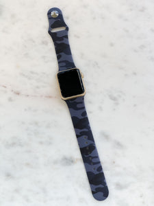 Navy Blue Camouflage Silicone Smart Watch Band