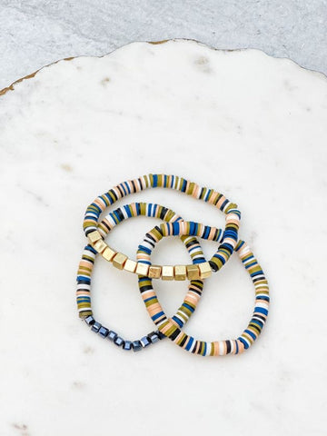 Rubber Disc Stretch Bracelet Stack - Navy Blue Multi