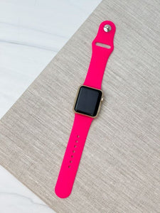 Neon Pink Silicone Smart Watch Band - S/M