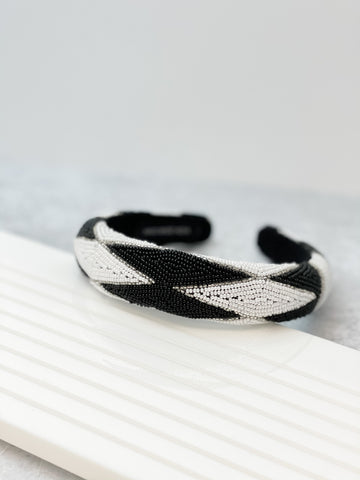 Padded All Over Beaded Headband - Black & White