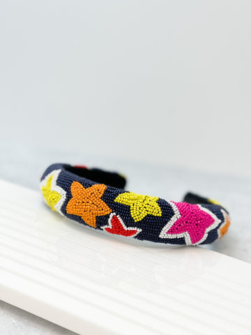 Padded All Over Beaded Headband - Stars