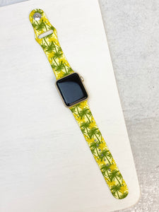 Palm Trees Printed Silicone Smart Watch Band