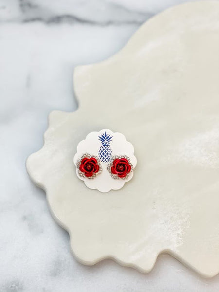 Rose Pave Stud Earrings