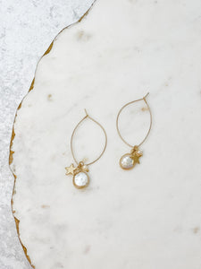 Coin Pearl & Star Charm Dangle Earrings - Gold