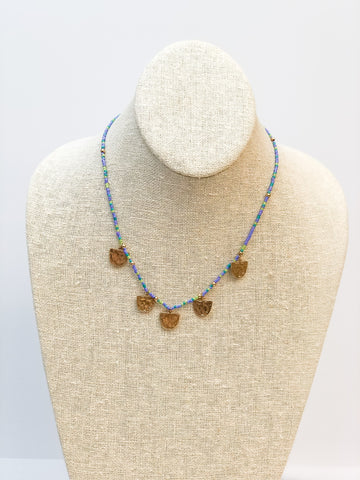 Beaded Disc Necklace - Periwinkle