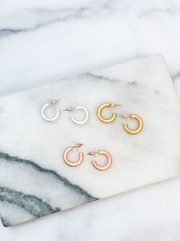 Petite Matte Hoop Earrings
