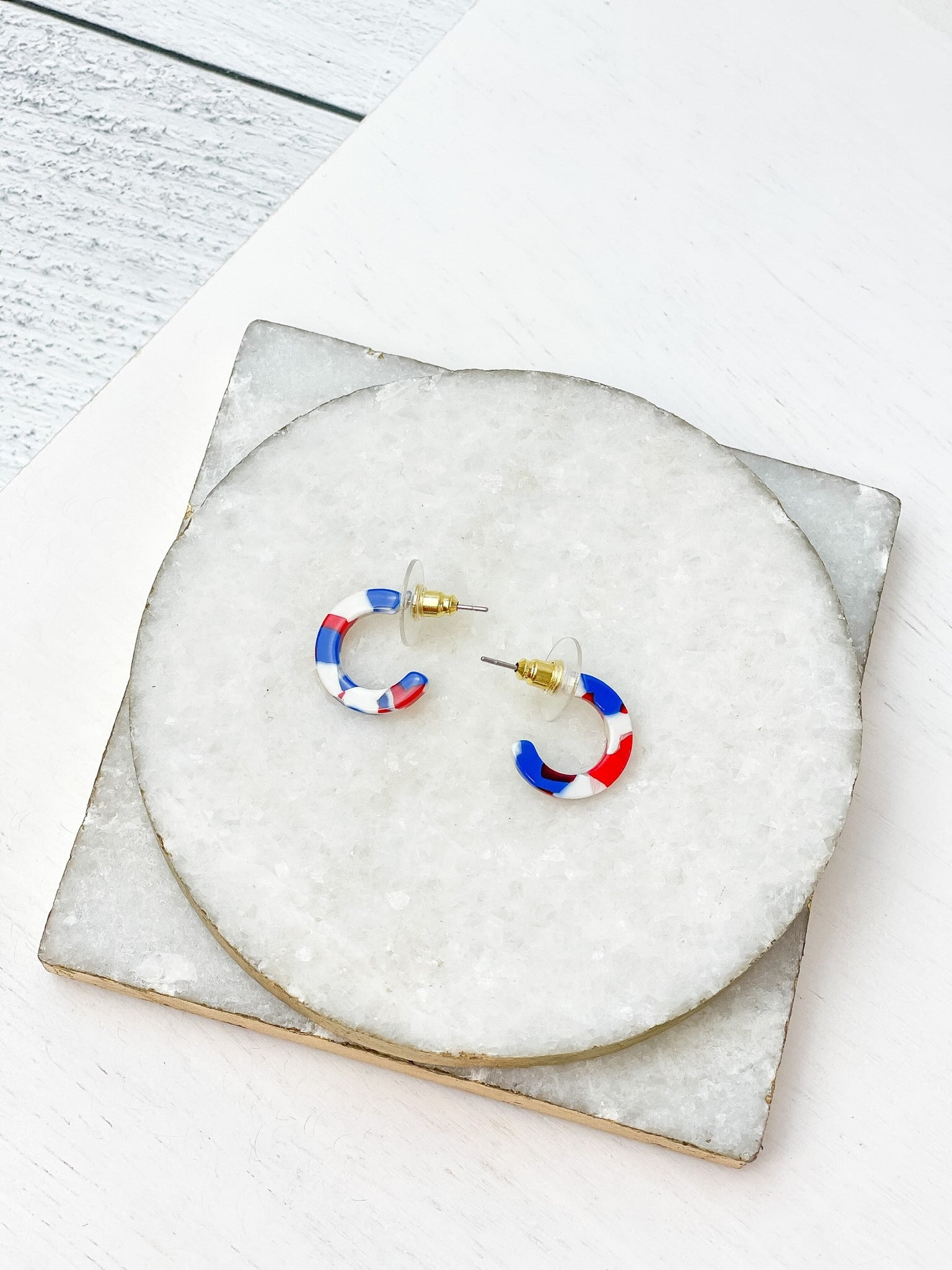 Petite Hoop Earrings - Red, White, & Blue