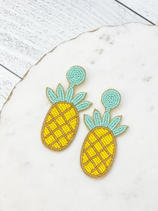 Beaded Pineapple Dangle Earrings