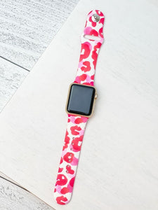 Hot Pink Leopard Printed Silicone Smart Watch Band