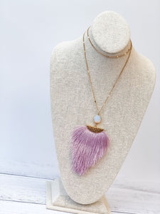 Fringe Stone Statement Necklace - Lilac