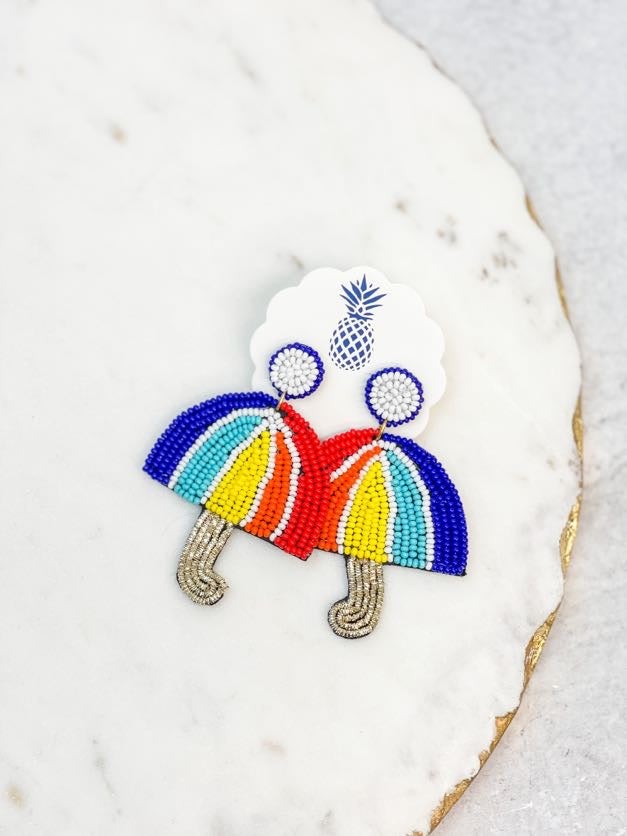 Rainbow Umbrella Seed Bead Earrings