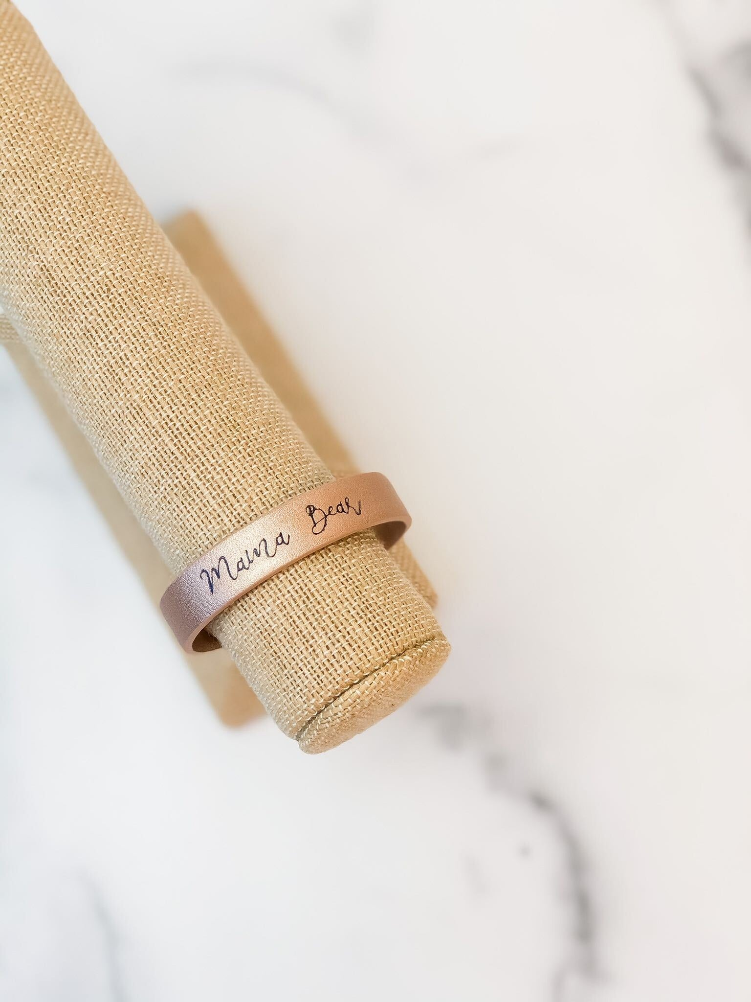 'Mama Bear' Rose Gold Leather Bracelet