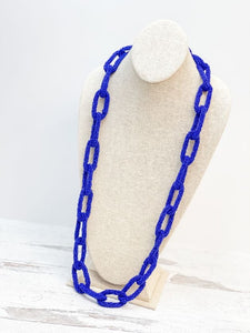 Seed Bead Link Long Necklace - Royal Blue