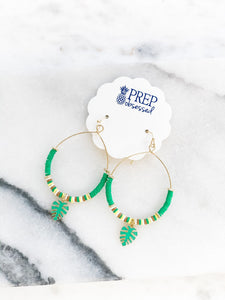 Rubber Disc Dangle Earring - Palm Leaf