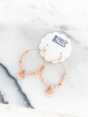 Rubber Disc Dangle Earring - Seashell