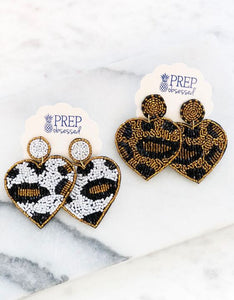 Seed Bead Leopard Heart Dangle Earrings