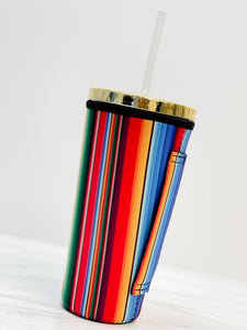 Insulated Cold Cup Sleeve with Handle - Serape
