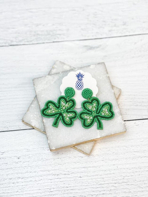 Shamrock Beaded & Pearl Statement Earrings