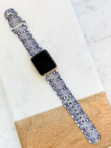 Snakeskin Print Silicone Watch Band - Grey S/M