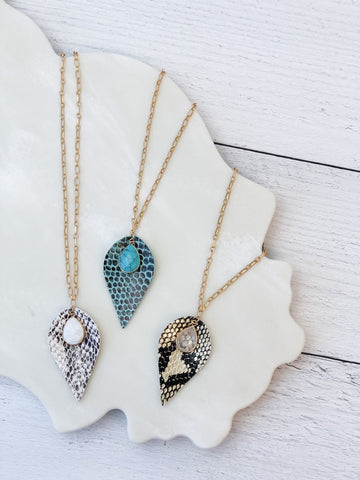 Long Snakeskin Print Pendant Necklaces