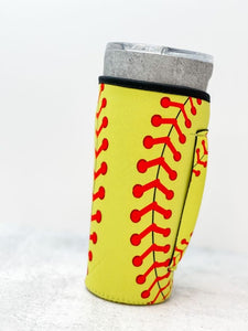 Insulated Cold Cup Sleeve with Handle - Softball