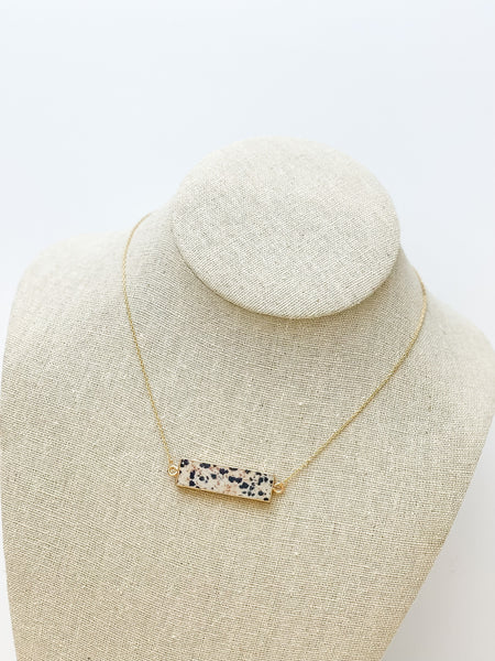 Long Oval Natural Stone Pendant Necklace - Spotted