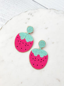 Beaded Strawberry Dangle Earrings