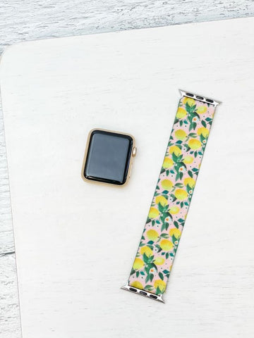 Lemon Print Stretch Watch Band