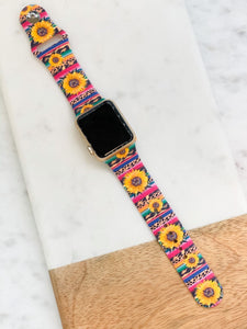 Sunflower Serape Silicone Watch Band