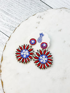 Patriotic Dandelion Beaded Dangle Earrings