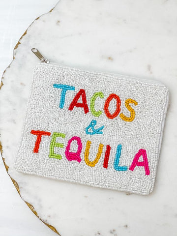 Tacos & Tequila Beaded Zip Pouch