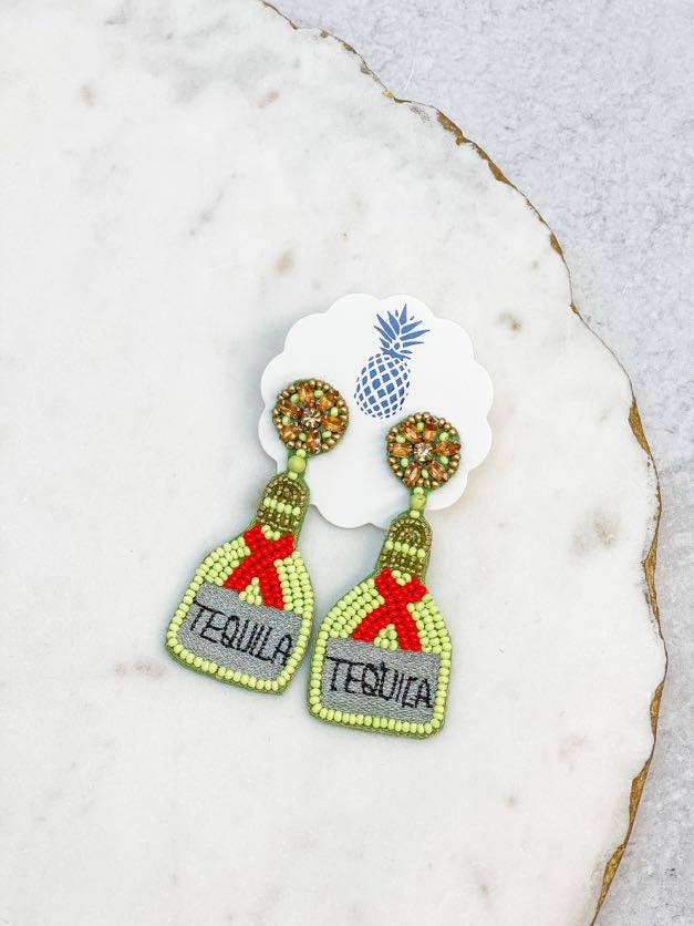 Tequila Beaded Dangle Earrings - Lime
