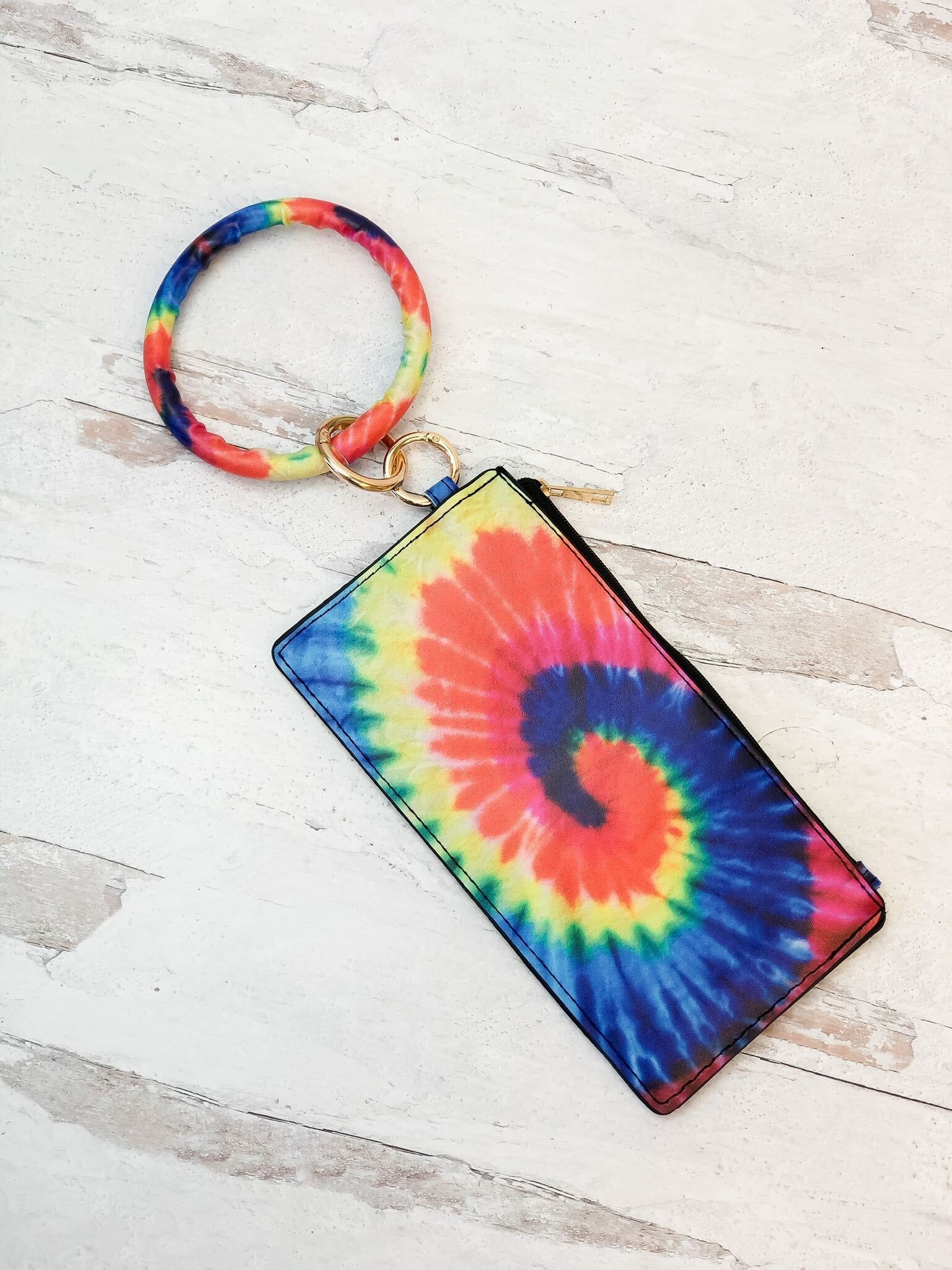 Bright Tie Dye Key Ring Zip Pouch