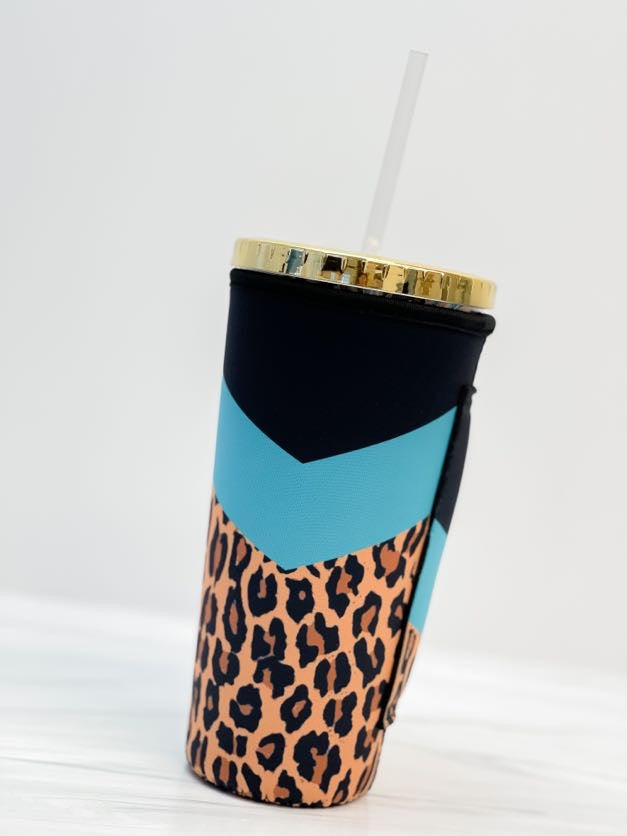 Insulated Cold Cup Sleeve with Handle - Turquoise Leopard