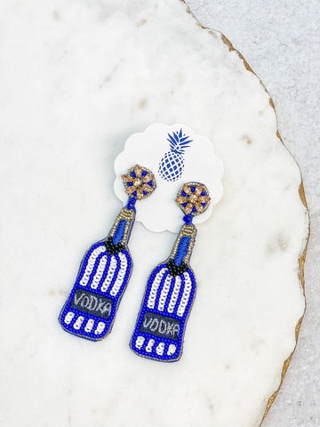 Vodka Sequin & Beaded Dangle Earrings - Blue