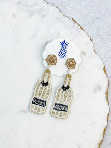 Vodka Sequin & Beaded Dangle Earrings - White