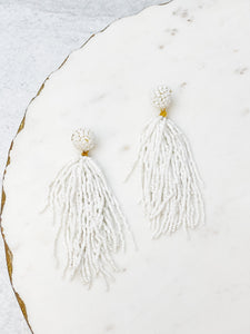 Seed Bead Tassel Earrings - White