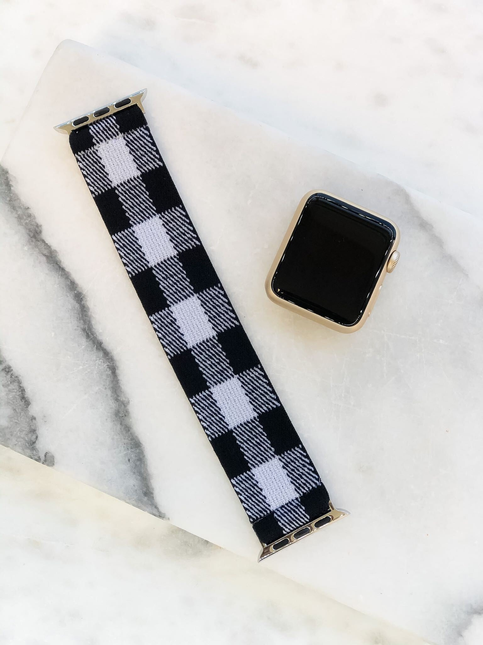 Black & White Buffalo Check Stretch Watch Band