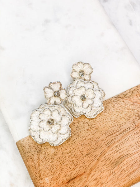 Glitzy Beaded Flower Dangle Earrings
