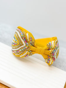 Yellow Embellished Fabric Headband